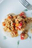Вегетарианский ragout гриба с овощами и рисом Стоковое Изображение RF