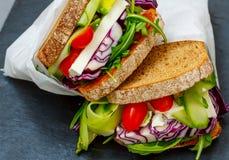2 вегетарианских сандвича с сыром фета Стоковое Фото