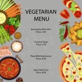 Вегетарианское меню ресторана бесплатная иллюстрация