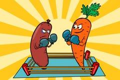 Вегетарианство против мяса есть, война диет бесплатная иллюстрация