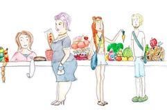 Вегетарианцы и тучные покупки женщины в картине акварели супермаркета бесплатная иллюстрация