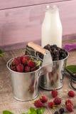 Ведра металла с свежими ягодами Стоковая Фотография RF