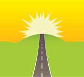 ведущее солнце дороги к Стоковое Фото