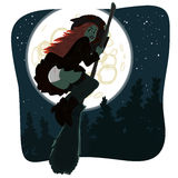 Ведьма в ночном небе Стоковое фото RF