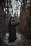 Ведьма в черном платье стоковые фото