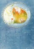 ведьма иллюстрации крышки книги самомоднейшая Стоковое Изображение