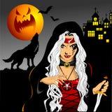 Ведьма и волк в старом замке иллюстрация штока