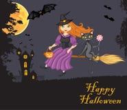 Ведьма и кот на венике иллюстрация штока