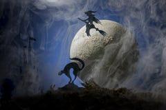 Ведьма на broomstick на фоне луны, хеллоуин Стоковое Изображение RF