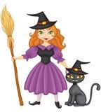 Ведьма с веником и киской Иллюстрация вектора