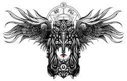 Ведьма с вороной черепа на его голове, характеры не значит ничего, иллюстрация вектора