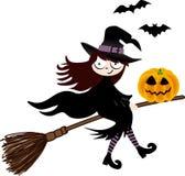 ведьма тыквы halloween летания веника Стоковое Изображение