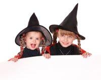 ведьма удерживания ребенка знамени Стоковая Фотография RF