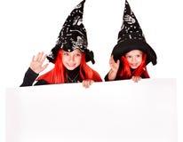 ведьма удерживания ребенка знамени Стоковые Изображения RF