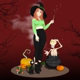 Ведьма хеллоуина волшебно производя скелет вне котел иллюстрация вектора