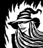 Ведьма шаржа довольно черная также вектор иллюстрации притяжки corel Стоковое Изображение