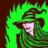 Ведьма шаржа милая также вектор иллюстрации притяжки corel Стоковое Изображение RF