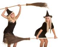 ведьма halloween веника знамени черная белокурая Стоковая Фотография RF