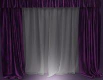 Вежливые фиолетовые занавесы Стоковое Изображение