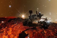 Вездеход Марса любопытства исследуя поверхностную планету Марса бесплатная иллюстрация