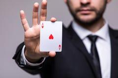 Везение играя карточек на серой предпосылке Стоковое Изображение RF