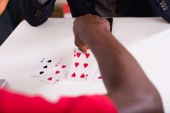 везение игры карточки 4 туза стоковое фото
