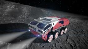 Вездеход луны на луне экспедиция космоса Реалистическая 3D анимация иллюстрация штока