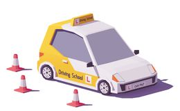 Вектора автомобиль управляя школы низко поли иллюстрация штока