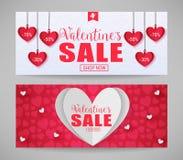 Вектора валентинок продажи магазина знамена теперь с бумажными сердцами Стоковое Фото