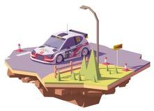 Вектора гоночный автомобиль ралли низко поли иллюстрация штока