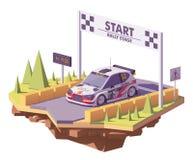 Вектора гоночный автомобиль ралли низко поли иллюстрация вектора