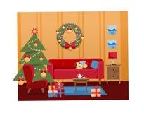 Вектора мультфильма рождества иллюстрация плоского внутренняя живя комнаты украшенная на праздники Уютный теплый дом внутренний с иллюстрация штока