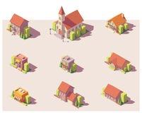 Вектора установленные здания низко поли равновеликие иллюстрация вектора