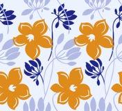 Вектора цвета руки картина вычерченного безшовная Абстрактные цветки с листьями, чертежом эскиза Текстура скандинавского мультфил иллюстрация штока