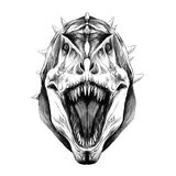 Векторные графики эскиза рта головы динозавра открытые Стоковое Изображение RF