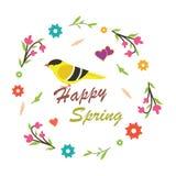Векторы весны с птицей Стоковая Фотография