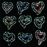 Векторы сердец от покрашенных пятен на день матерей, день валентинок Стоковые Фотографии RF