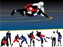 векторы силуэта wrestling Стоковое Изображение RF