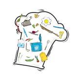 Векторы установили значки инструмента и еды кухни Стоковые Фото
