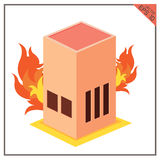 Векторы установили цвет огня здания белый на земле задней части белизны Стоковое Изображение