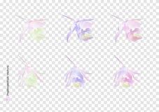Векторы цветков Paphiopedilum с щеткой акварели изолированной на предпосылке прозрачности, красивом флористическом дизайне элемен иллюстрация штока