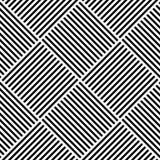 вектор абстрактной геометрической картины безшовный Сплетя текстильная ткань с черно-белыми пересеченными прямыми линиями провере иллюстрация штока