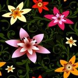 вектор абстрактной черной флористической картины безшовный Стоковые Изображения