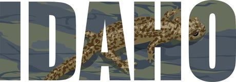 Вектор Айдахо - слово американского штата с гигантским саламандром Стоковое Изображение RF