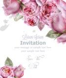 Вектор акварели цветков пиона Карта приглашения, свадебная церемония, чувствительная открытка, поздравительная открытка дня женщи иллюстрация штока