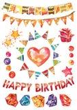 Вектор акварели с днем рождения установил, декоративные элементы для поздравительой открытки ко дню рождения, украшения вектора г Стоковое Фото