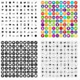 100 вектор аксессуаров спорта установленный значками различный Стоковое фото RF