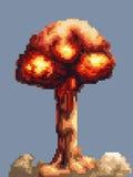 Вектор анимации взрыва игры искусства пиксела стоковое фото