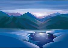 Вектор ландшафта захода солнца зимы Стоковые Фотографии RF