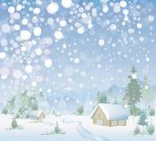 Вектор ландшафта зимы. С Рождеством Христовым! иллюстрация штока
